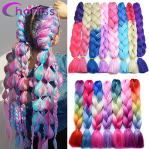 Chorliss Jumbo Braids Ombre Synthetic Braiding Hair Colorful Crochet Braids Hair Extensions 613 pink purple 24inch(65cm) Blonde(China)
