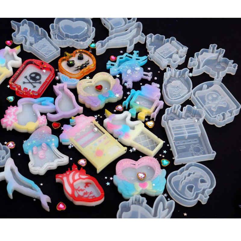 Diy resina shaker encantos halloween crânio fantasma abóbora saco de sangue moldes de silicone unicórnio máquina de jóias que faz ferramentas