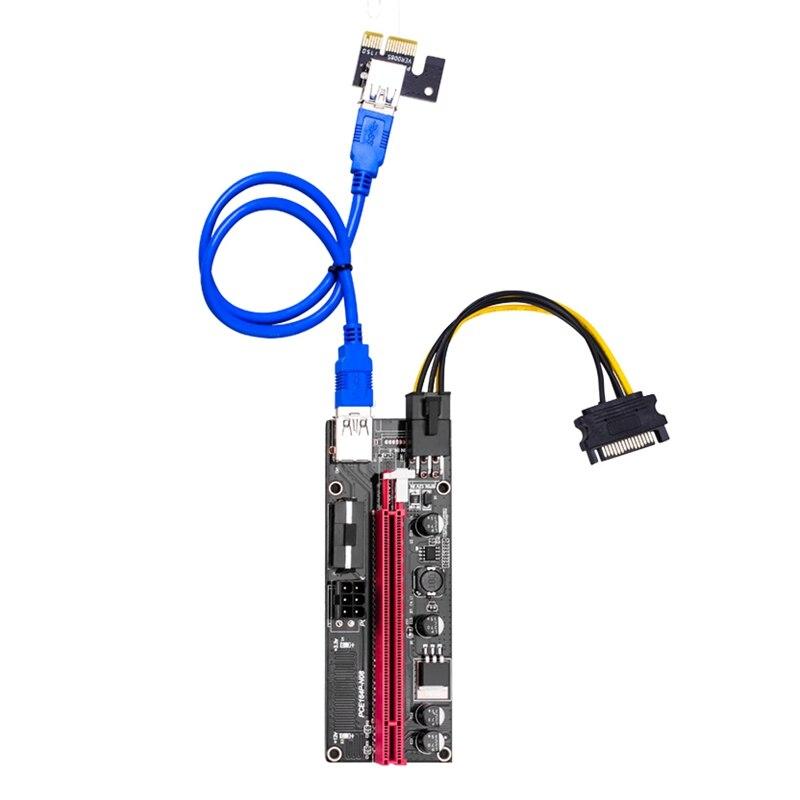 5Pcs Ver009 USB 3.0 Pci-E Riser Ver009S Express 1X 4X 8X 16X Extender Riser Adapter Card Sata 15Pin to 6 Pin Power Cable 3