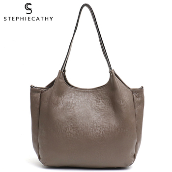 SC Women Real Skin Bucket Totes Genuine Leather Multi Zip Sections Large Capacity Daily Shopping Work Shoulder Messenger Bags