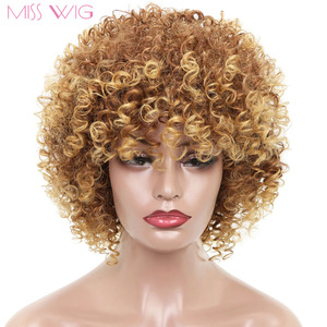 MISS WIG 16Inches Long Afro Kinky Curly Wigs for Black Women Blonde Mixed Brown Synthetic Wigs African Hairstyle Heat Resistant(China)