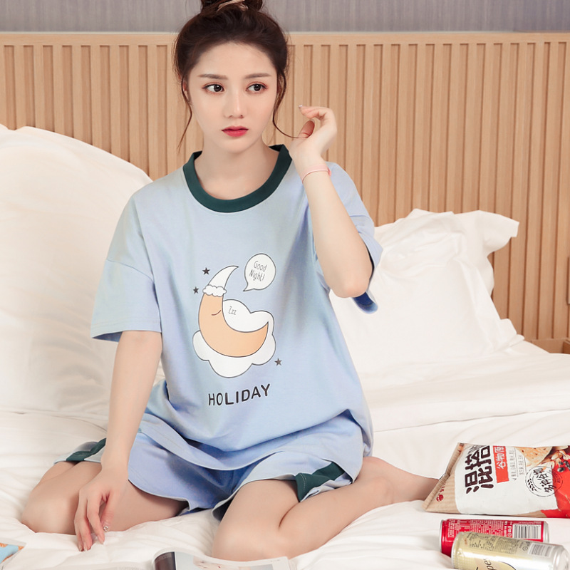2019 Summer Short-sleeved Pajamas WOMEN'S Suit Korean-style Women's Home Wear 6535 Combed Cotton M -Xxl