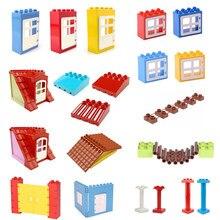 Duplo modelo de construção blocos paredes janelas portas do telhado toldo acessórios blocos de construção peças conjunto educacional tijolos brinquedos