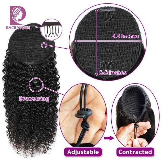 Racily волосы афро кудрявые конский хвост человеческие волосы Remy Омбре бразильские обертывания вокруг шнурка конский хвост клип в наращивани...