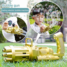 Automatic Gatling Bubble Gun For Kids Toy 2-in-1 Electric Soap Bubble Machine Blower Gun Summer Cooling Fan Outdoor Toy