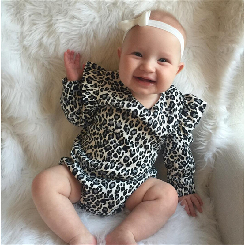 Leopard Print Infant Newborn Clothes Baby Girl Bodysuit Cotton Rompers Long Sleeve Jumpsuit Baby Boy Bodysuits