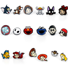 Anime One Piece Luffy Tom and Jerry Alice in Wonderland Stud Earrings The Nightmare Before Christmas Jack Sally Cute Earrings