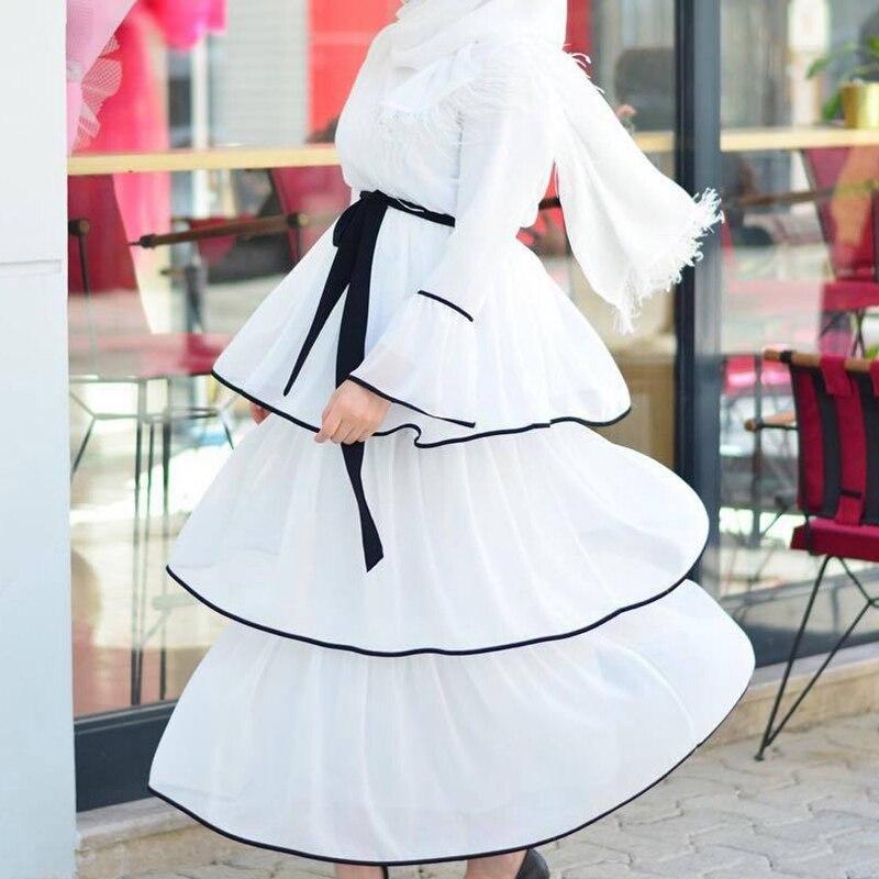 Kili Women Muslim Dress Arabic Ruffles Fashion Full Sleeve Casual Ladies Islamic Long Maxi Dresses 5