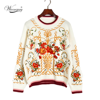 High Quality luxury Floral Embroidery Autumn Winter Wool Blend Jumper Sweater Women's Runway Thick Knitting Pullover CY-091
