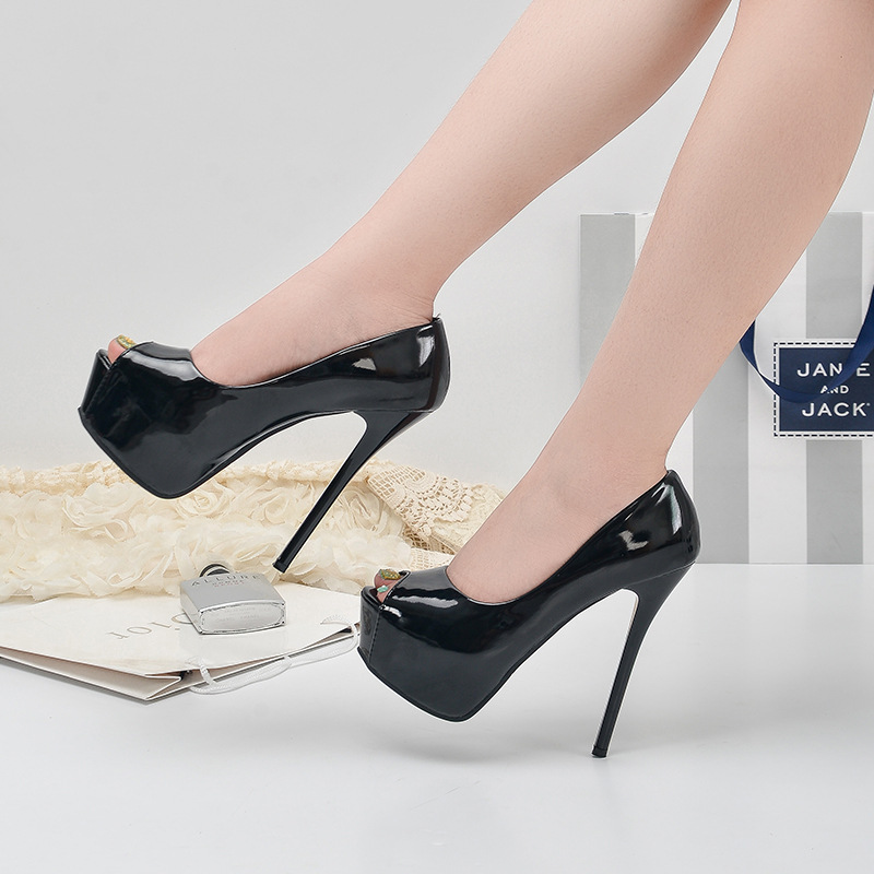 Women Shoes Summer Spring Pumps 14CM High Heels Platform Fashion Peep Toe Patent Leather Sexy Club Ladies Party Female Sheos