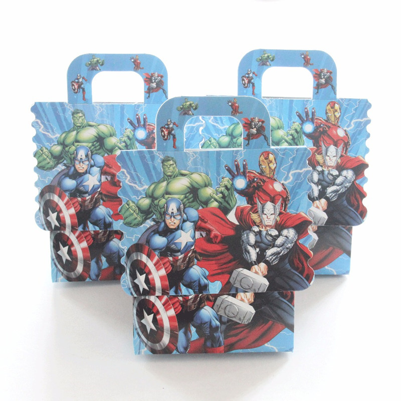 6pcs Avengers Theme Cartoon Candy Boxes Superhero Popcorn Box For Kids Birthday Party Gift Box Loot Bag Baby Shower Boy Favors