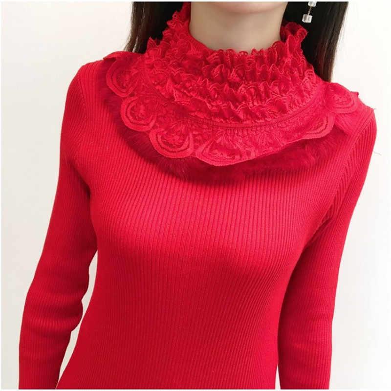 Свитер с полувырезом, Женская кружевная вязаная одежда, рубашка, пуловер с длинными рукавами и кружевом, осенне-зимний джемпер, 775