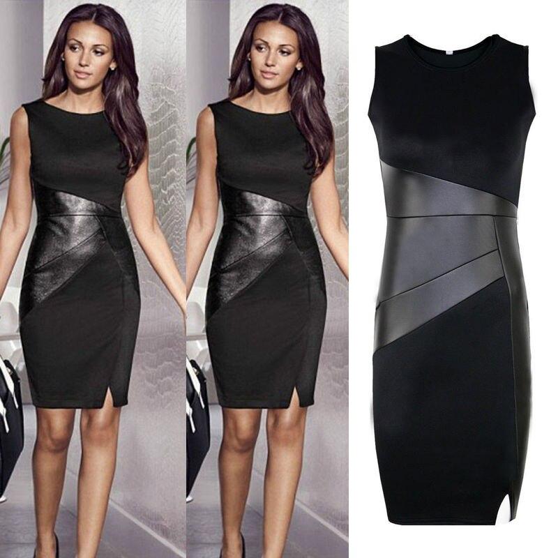 Zipper Black Leather Dress Elegant Slim Pencil Patchwork Dress New Arrival XXL Ladies Sexy Slim Fashion Mesh Women Clubwear