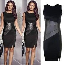 Zipper Black Leather Dress Elegant Slim Pencil patchwork dress