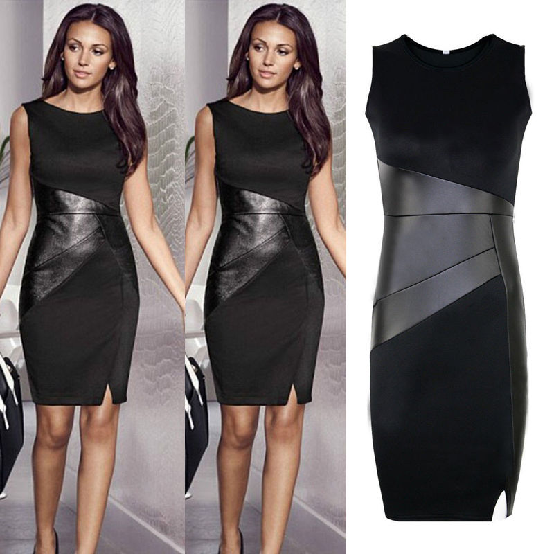 Zipper <font><b>Black</b></font> Leather <font><b>Dress</b></font> Elegant <font><b>Slim</b></font> Pencil patchwork <font><b>dress</b></font> New Arrival XXL Ladies <font><b>Sexy</b></font> <font><b>Slim</b></font> Fashion Mesh Women Clubwear image