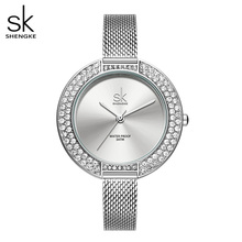 Shengke Luxury women watches silver slim watchband 38 mm Big Dial ladies watch Japanese Quartz reloj mujer zegarek damski