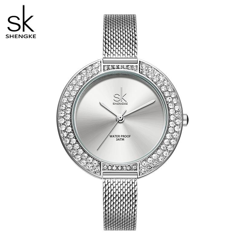 Shengke di Lusso delle donne di orologi argento sottile cinturino 38 millimetri Grandi signore Quadrante dell'orologio Giapponese Al Quarzo reloj mujer zegarek damski