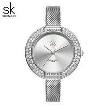Shengke relógios femininos de luxo prata fino pulseira 38 mm grande dial senhoras relógio quartzo japonês reloj mujer zegarek damski