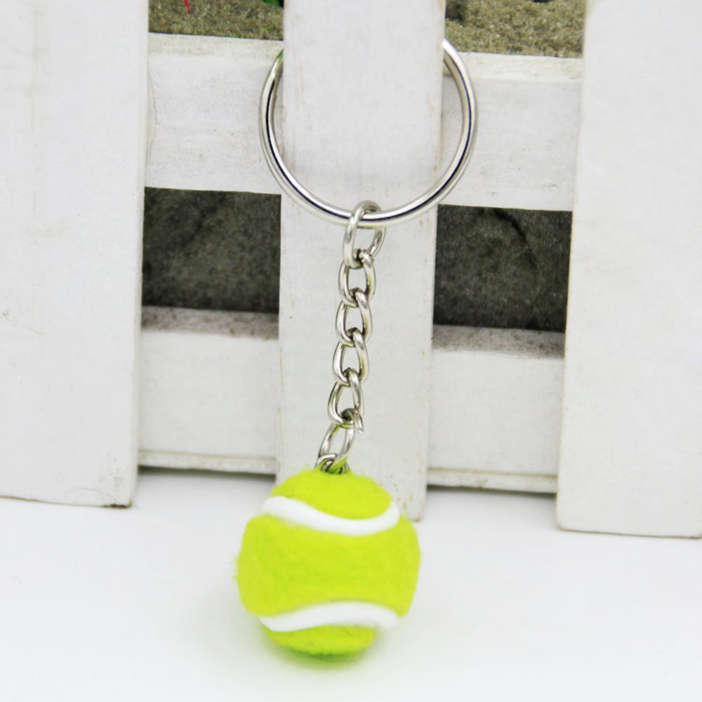 Mini Tennis Ball Key Chain Key Ring Tennis Racket Keychain - Cute Sport Mini Keychain car Pendant Keyring Sports Key Chain(China)
