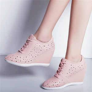 Image 4 - Trainers Women Breathable Genuine Leather Wedges High Heel Pumps Shoes Female Lace Up Summer Platform Ankle Boots Casual Shoes