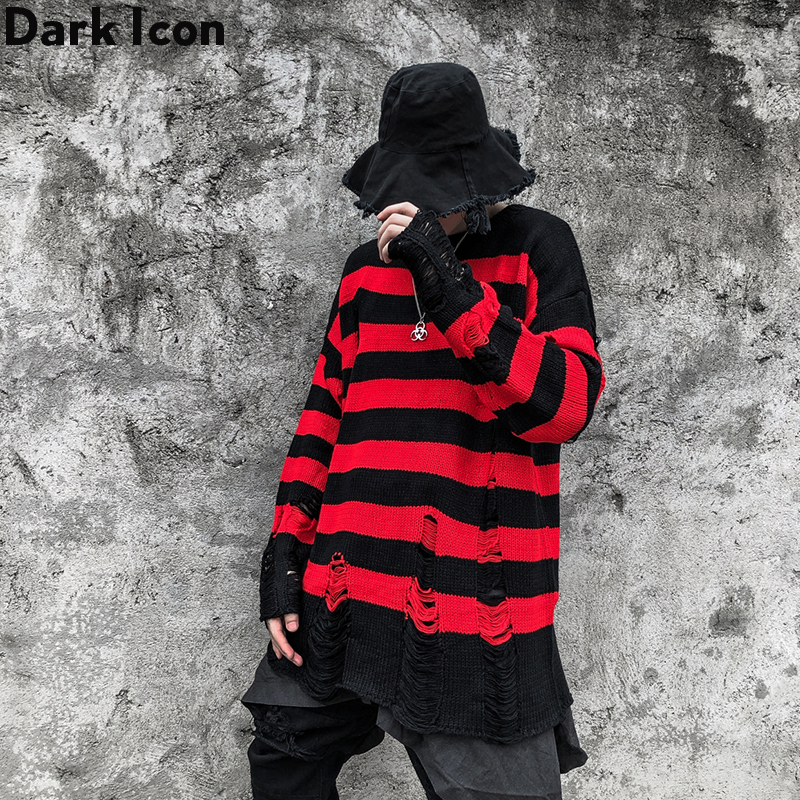 Sweaters Men Streetwear Clothing Round-Neck Striped Destroy with Hole Hipster Dark-Icon