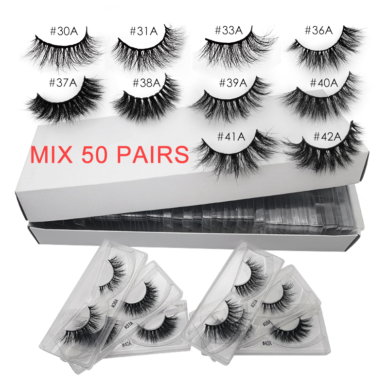 Wholesale 20/30/40/50 Pairs Mink Eyelashes Make Up 3d Mink Lashes Natural Long False Eyelash Cross Lashes Extension Cilios Bulk
