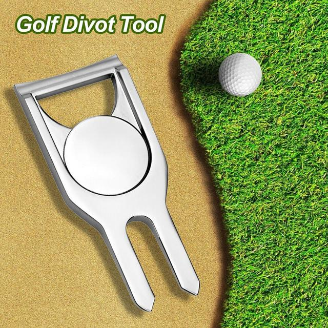 Golf Pitchfork Ball Putting Green Fork bottle opener Ball Pitch Cleaner repair lawn tool for Golf Divot Repair Tool Accessories 4
