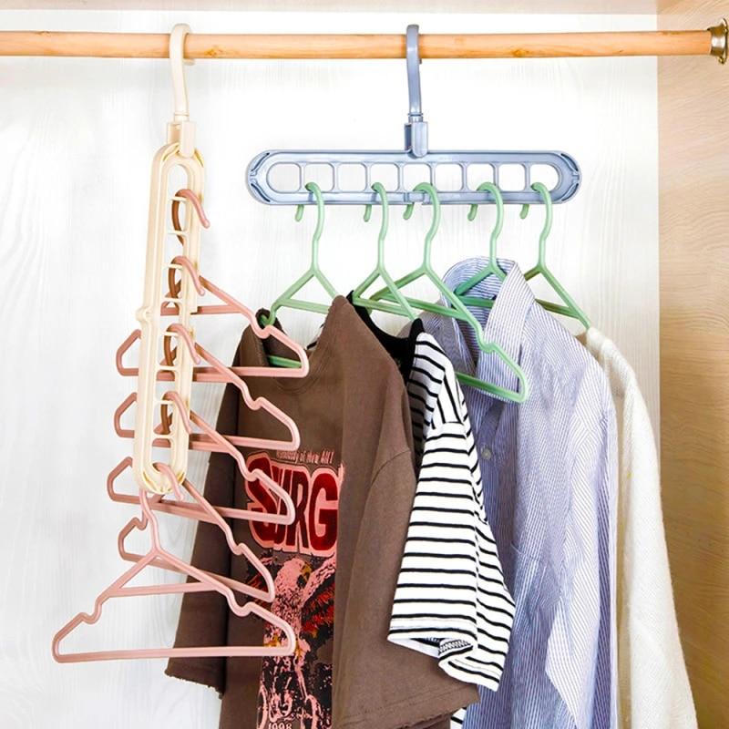 9 hole coat hanger rack organizer rotate multi hanger space saving folding hook cabide rack organizer hangers for clothes