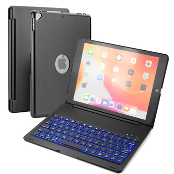 For iPad 10.2 inch 2019 Case with Keyboard Aluminum Alloy 7 Color Backlit American Bluetooth Keyboard Case For iPad 7th Gen 2019