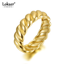 Lokaer Trendy Titanium Stainless Steel Twisted Shape Party Ring Gold Color Original Design Wedding Ring Jewelry For Women R20055