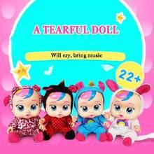 Muñeca llorona de bebé para niñas, juguete de simulación de lágrimas de cuerpo completo de vinilo, juguetes para jugar a las casitas, regalo para niños de 9/11 pulgadas