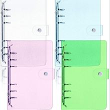 A6 Soft PVC 6-Ring Binder Cover with Glitter Clear Transparent PVC Notebook Cover Protector with Snap Button Loose Leaf binder