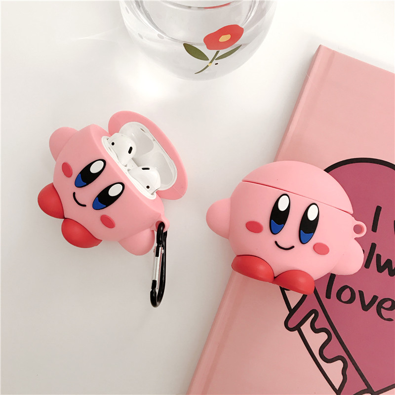 3D Cute Pink Ball Kirby Star Allies Headphone Cases Silicone Protection Earphone Cover Cartoon For Apple Airpods 1/2 Accessories