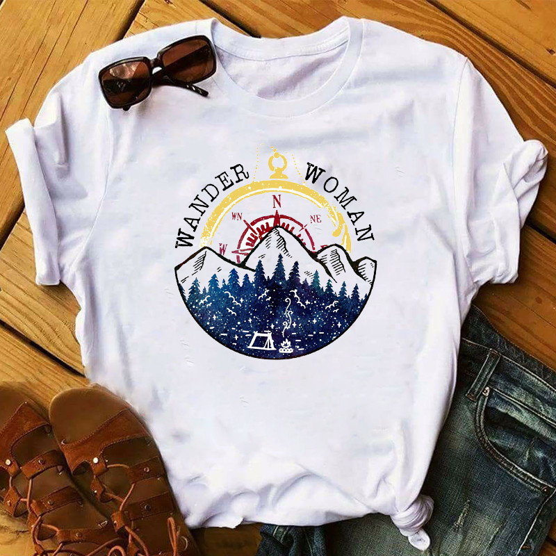 Women 2020 Feather Wander Mountain Fashion Clothing Print Lady Womens Top Ladies Graphic Female  T Shirt T-shirts Tee T-Shirt