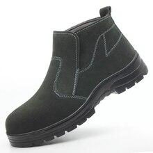 Мужские модные ботинки со стальным носком; большие размеры; Ботинки Челси на платформе; Рабочая обувь из коровьей замши; Мужская защитная обувь