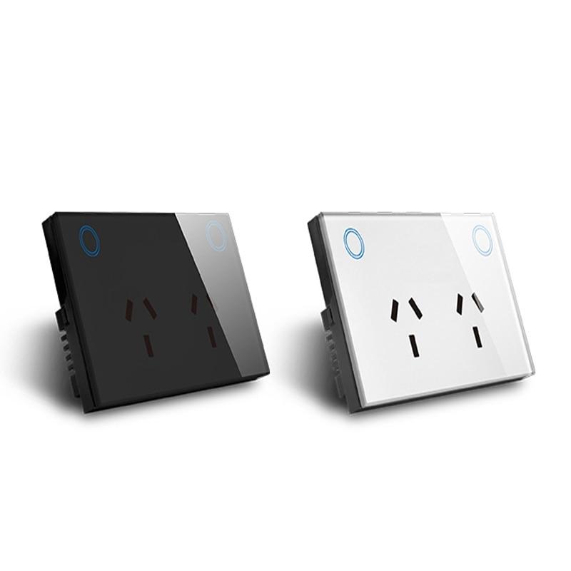US standard black white glass panel  wall plug WiFi smart wall socket double plug  smart home switch socket
