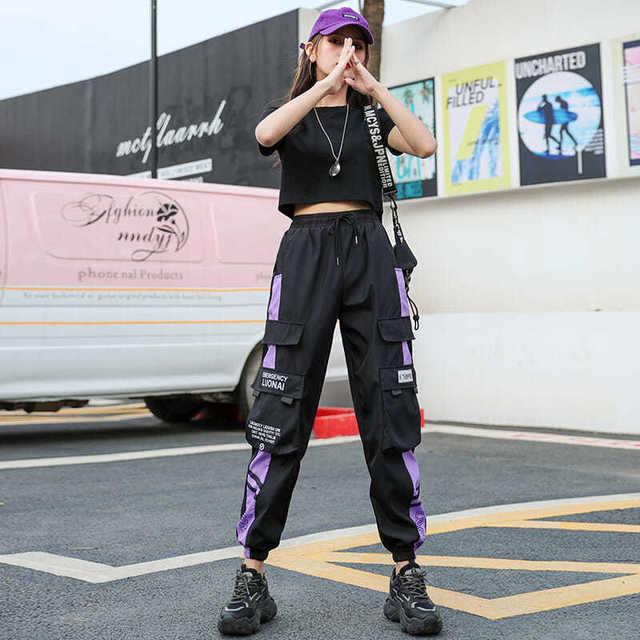 Women s Joggers Casual Sports Summer Girls Hip-hop Streetwear Pants Fashion Cargo Pants Female Dance Sweatpants Trousers Black