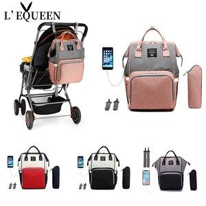 LEQUEEN USB сумка для подгузников, рюкзак для ухода за ребенком, для мам, мам, влажная сумка для беременных, водонепроницаемый рюкзак для ухода за ...
