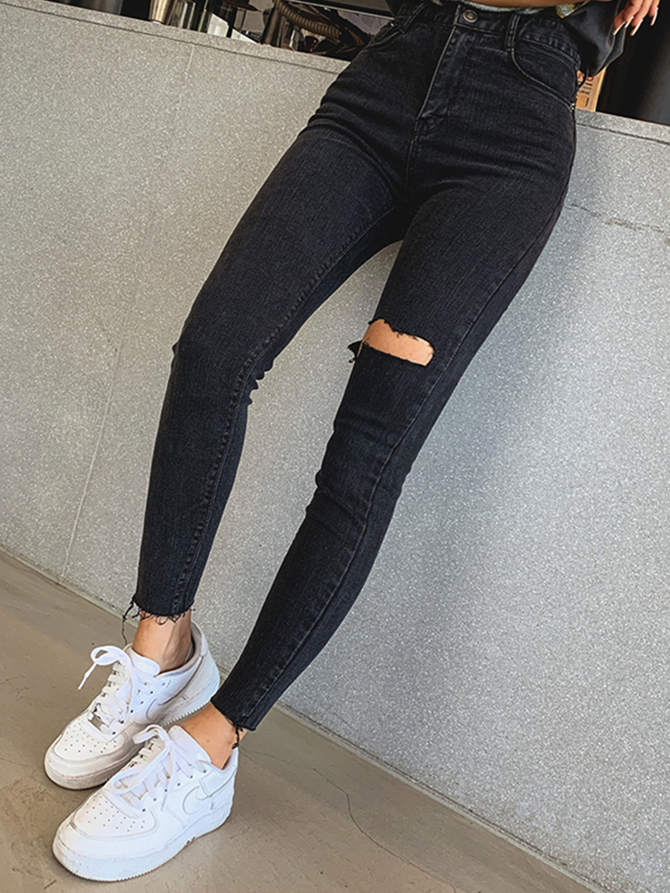 Mozuleva Pencil Jeans Trousers Skinny-Pants Holes Ripped Sexy High-Waist Female Women