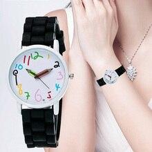 Мода женщины часы простой кварц часы милый карандаш номер циферблат наручные часы с силиконом ремешок женский кварц наручные часы