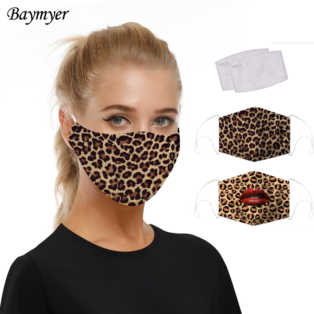 Reusable Leopard Print Mask Sexy Lips Face Masks PM2.5 Activated Filter Anti Dust Mouth Mask Anti-fog Proof Flu Washable Mask