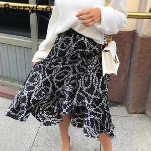 Image 3 - BerryGo zarif zincir baskı midi etekler womens asimetrik dantel up uzun mini etek kadın 2020 bahar yaz OL bayanlar etekler