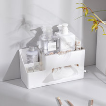 Caixa de tecido de mesa organizador de maquiagem caixa de papel capa caixa de armazenamento de desktop caso telefone escova titular cosméticos recipiente guardanapo titular
