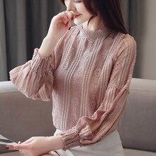 Fashion Autumn Women Blouses Elegant Lace Print Blouse Shirt Blusas Mujer De Moda Woman Chiffon