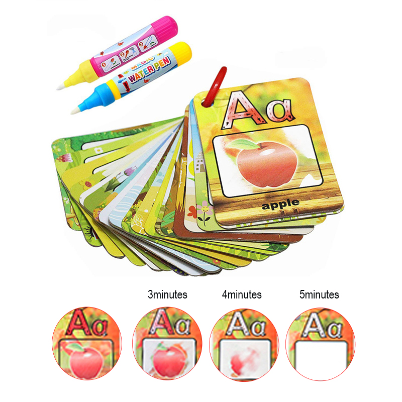 Coolplay Water Drawing Card 26 Alphabet Coloring Book & 2 Magic Pen Letter Card Painting Board English Learning Educational Toys