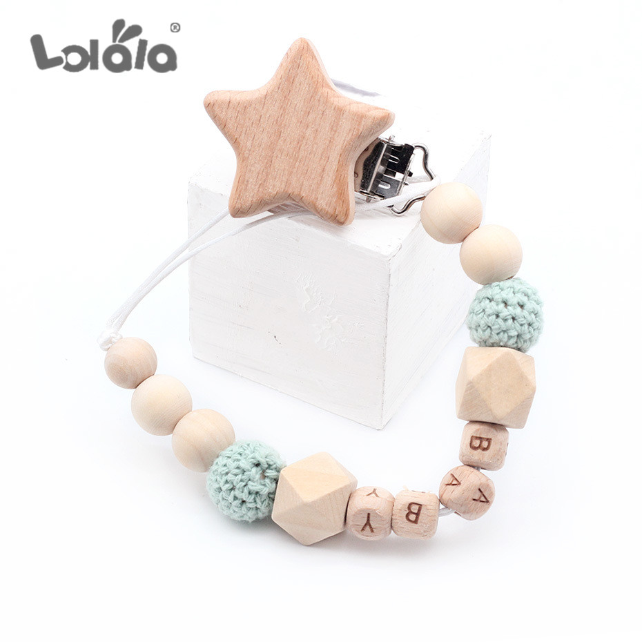 DIY Personalized Name Handmade Wooden Pacifier Chains Nipple Teething Baby Teether Pacifier Clips Holder Dummy Clip Shower Gift