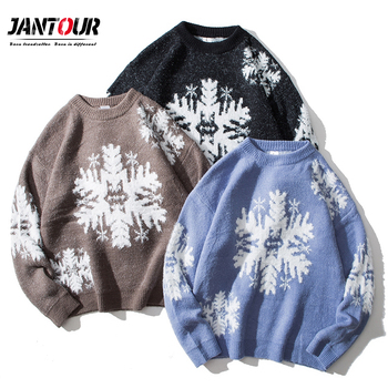 2020 New Winter thick warm Streetwear Men Snowflake Loose Sweaters Pullover Knitwear Casual Long Sleeve Big size M-3XL