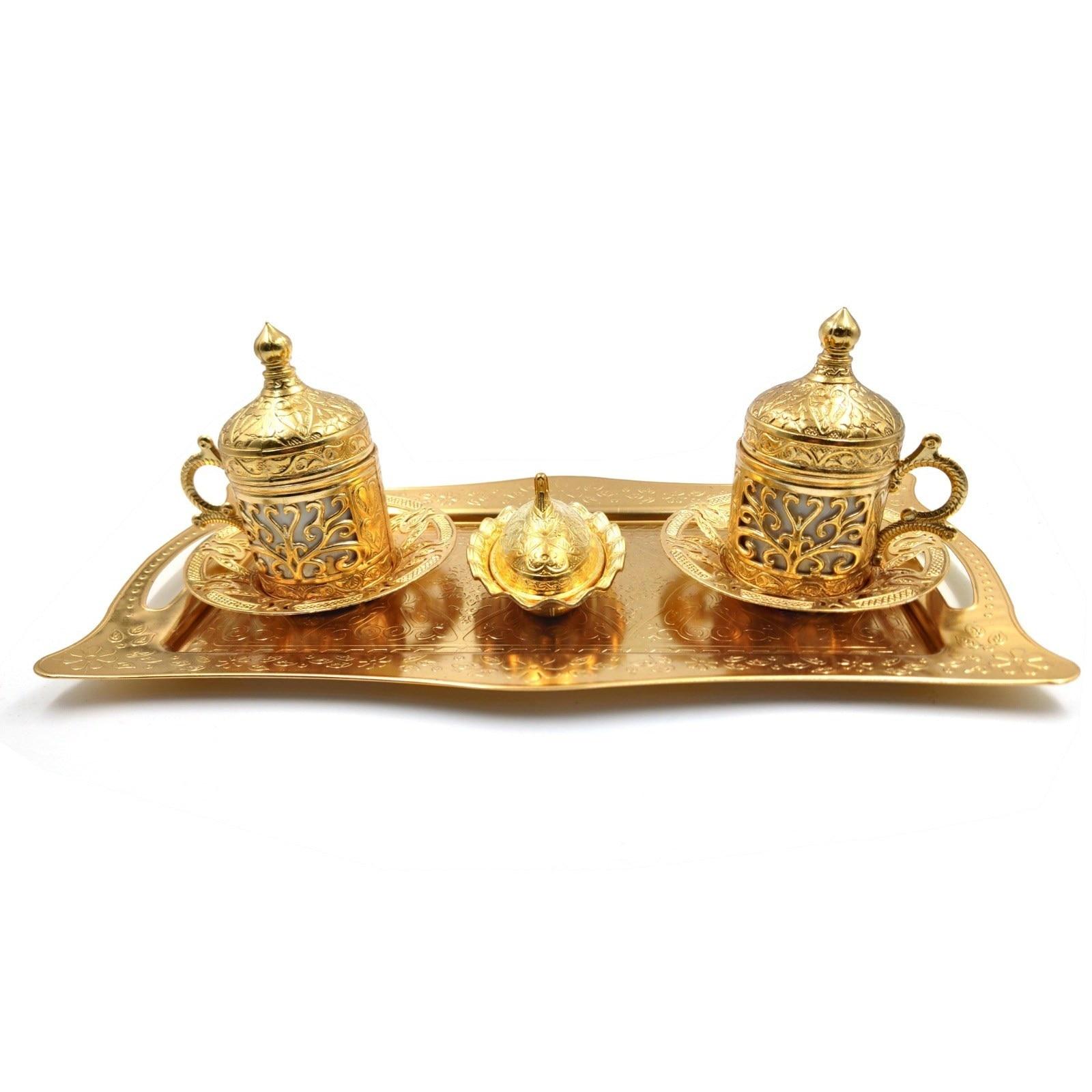 Handmade Clover Design Turkish Greek Arabic Coffee Espresso Serving Set for 2,Cups Saucers Lids Tray Delight Sugar Dish