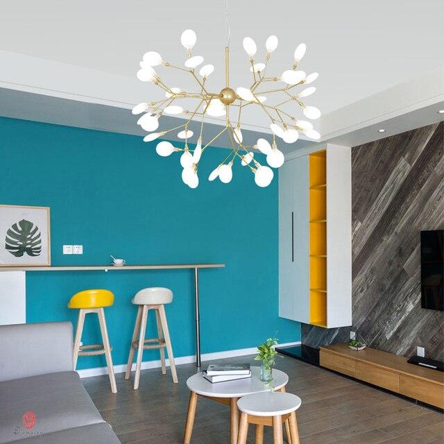 Modern Pendant Lamp LED Firefly Branch Tree Decorative Pendant Lighting Fixture Ceiling Lamp Hanging Light G4 Bulbs Included