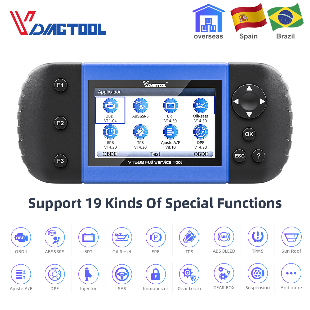 VDIAGTOOL VT600 OBD2 Automotive Scanner Tool Engine ABS SRS EPB Oil Service Reset Injector Coding OBDII Car Diagnostic